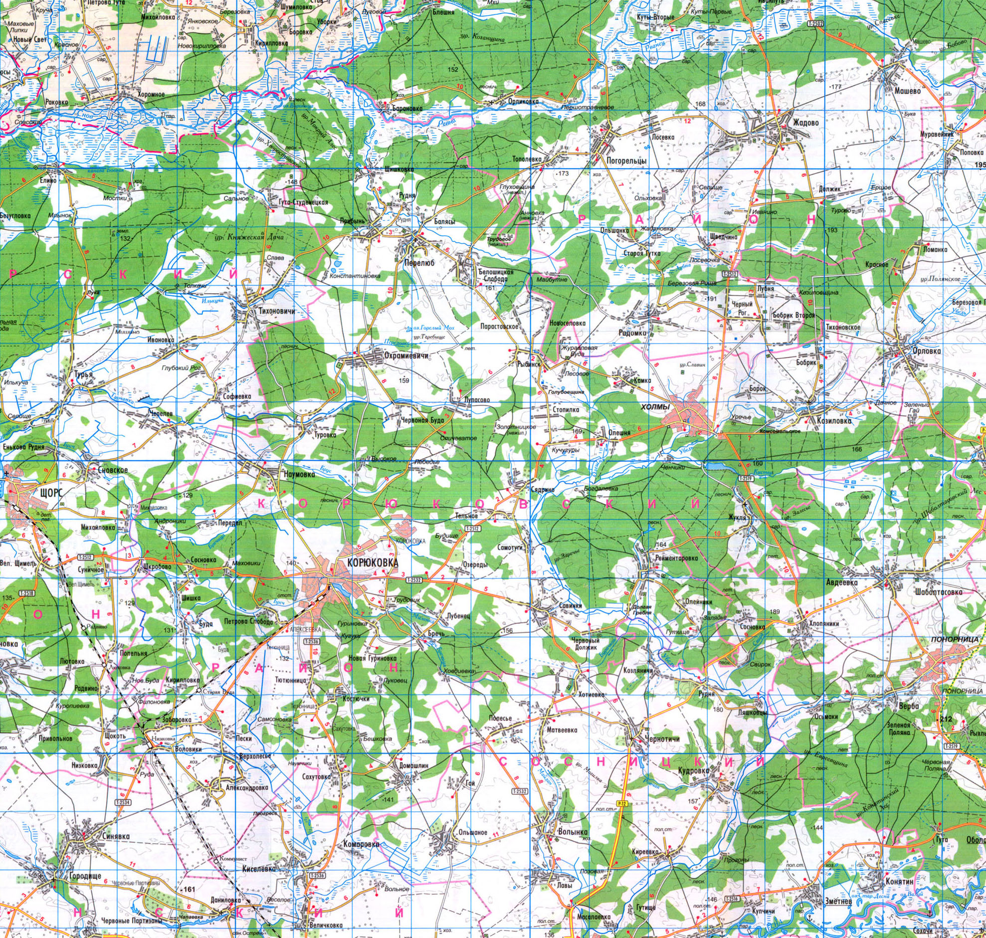 подробная карта Корюковского района