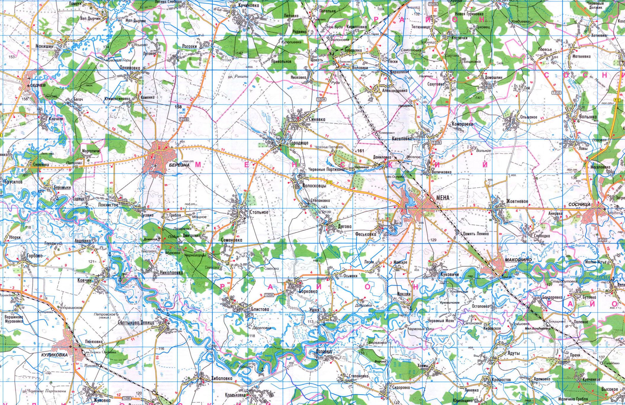 карта Менского района Черниговской области