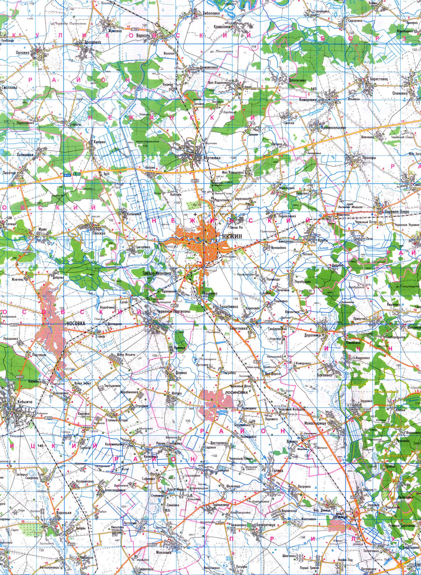 Подробная карта Нежинского района