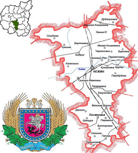 схема дорог и карта - Нежинский район