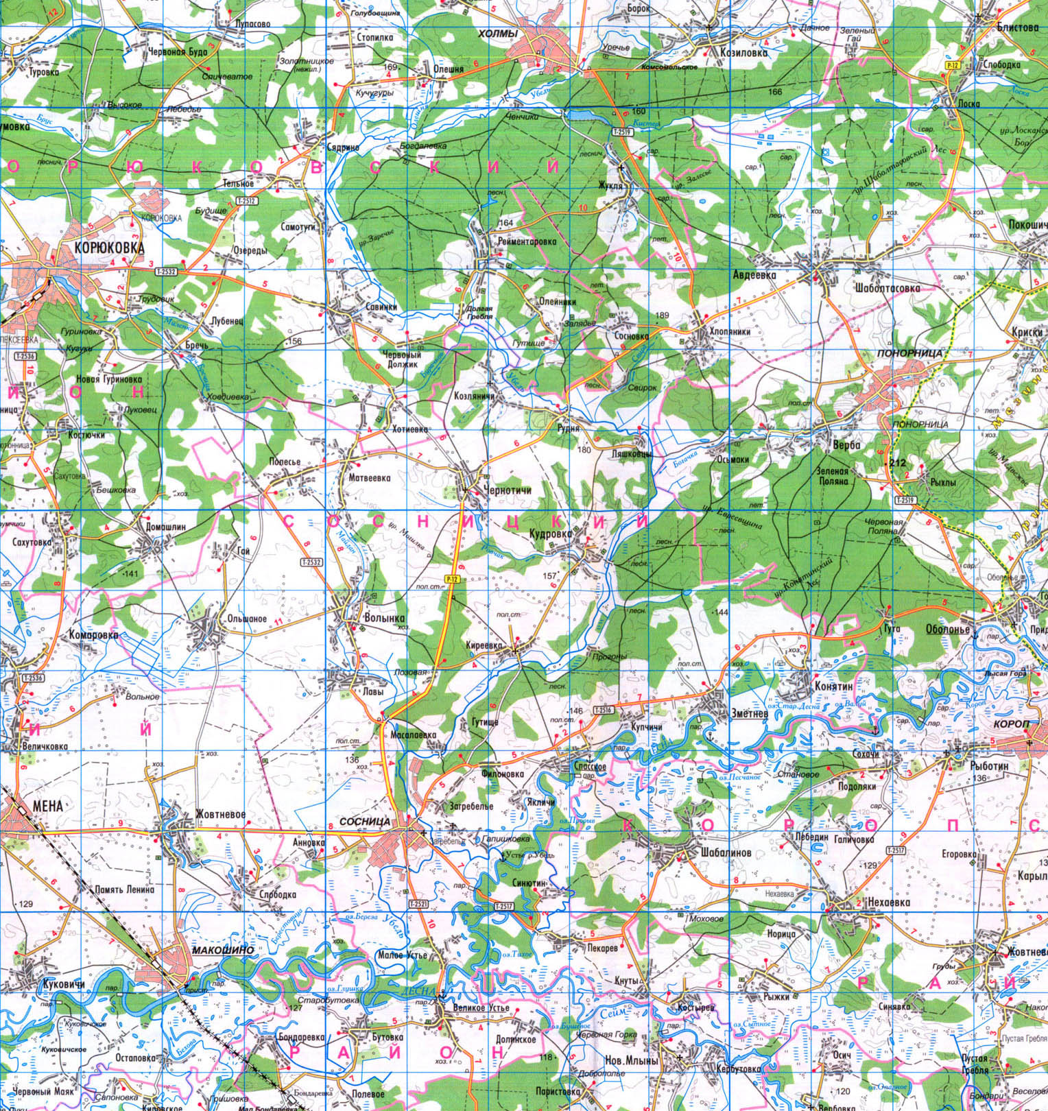 Подробная карта Cосницкого района: