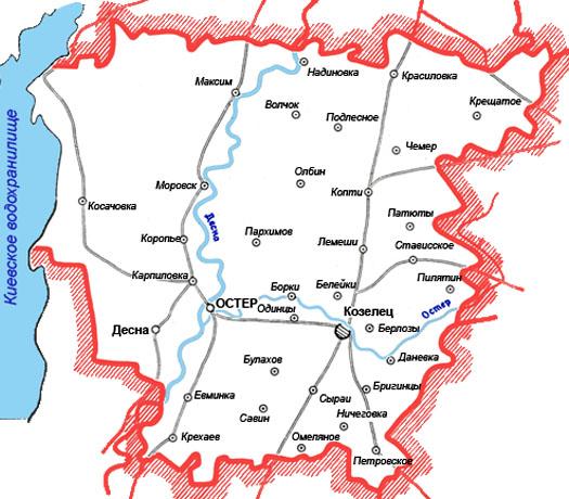 Козелецкий район - карта