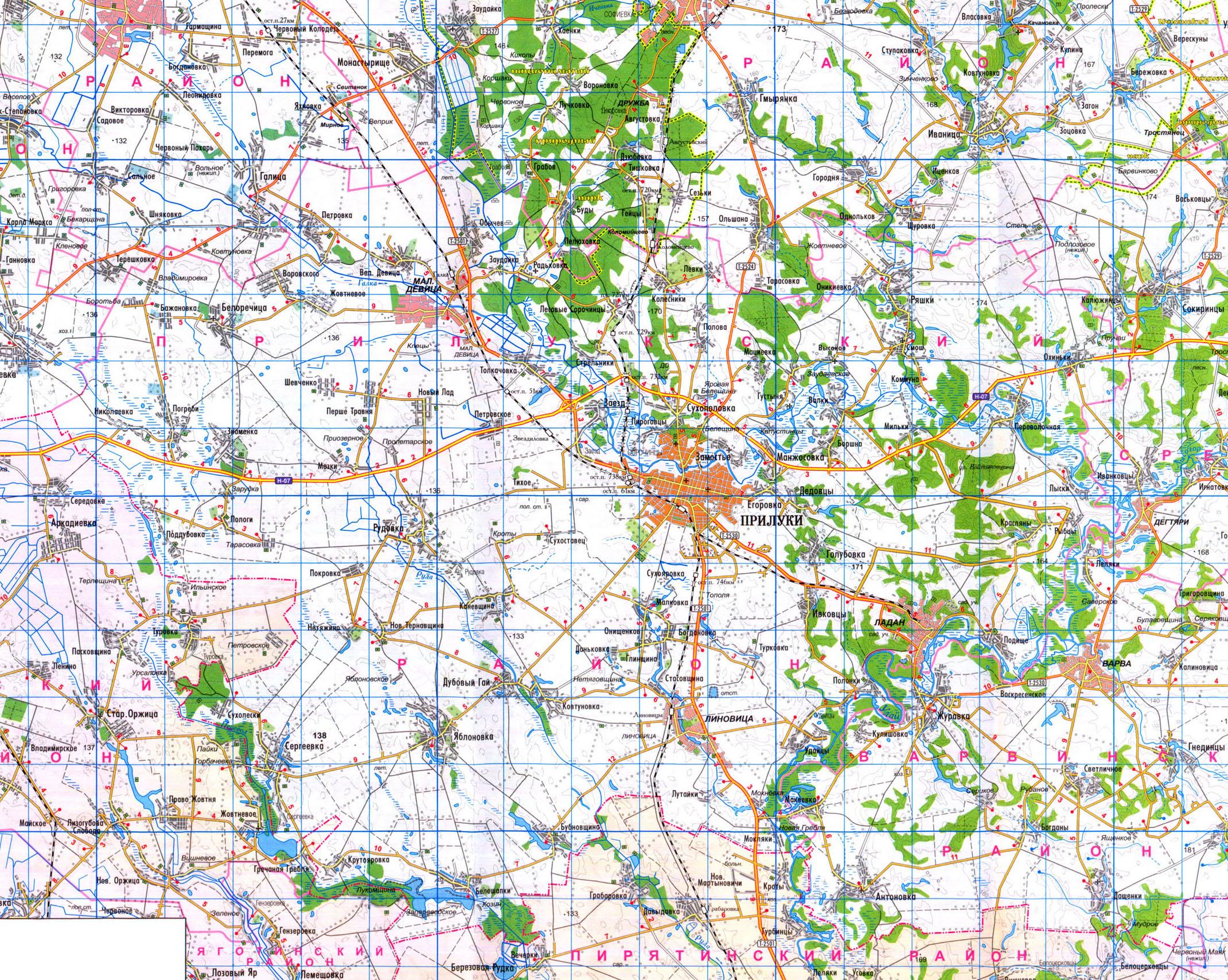 Карта Черниговской Области Менский Район