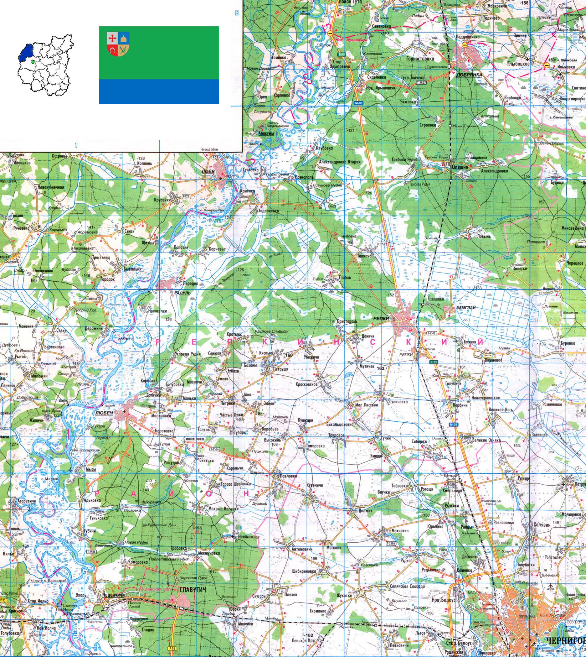 Подробная карта Репкинского района