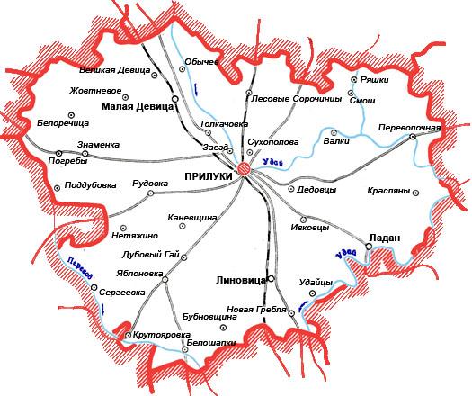 карта Прилукского района с дорогами и селами