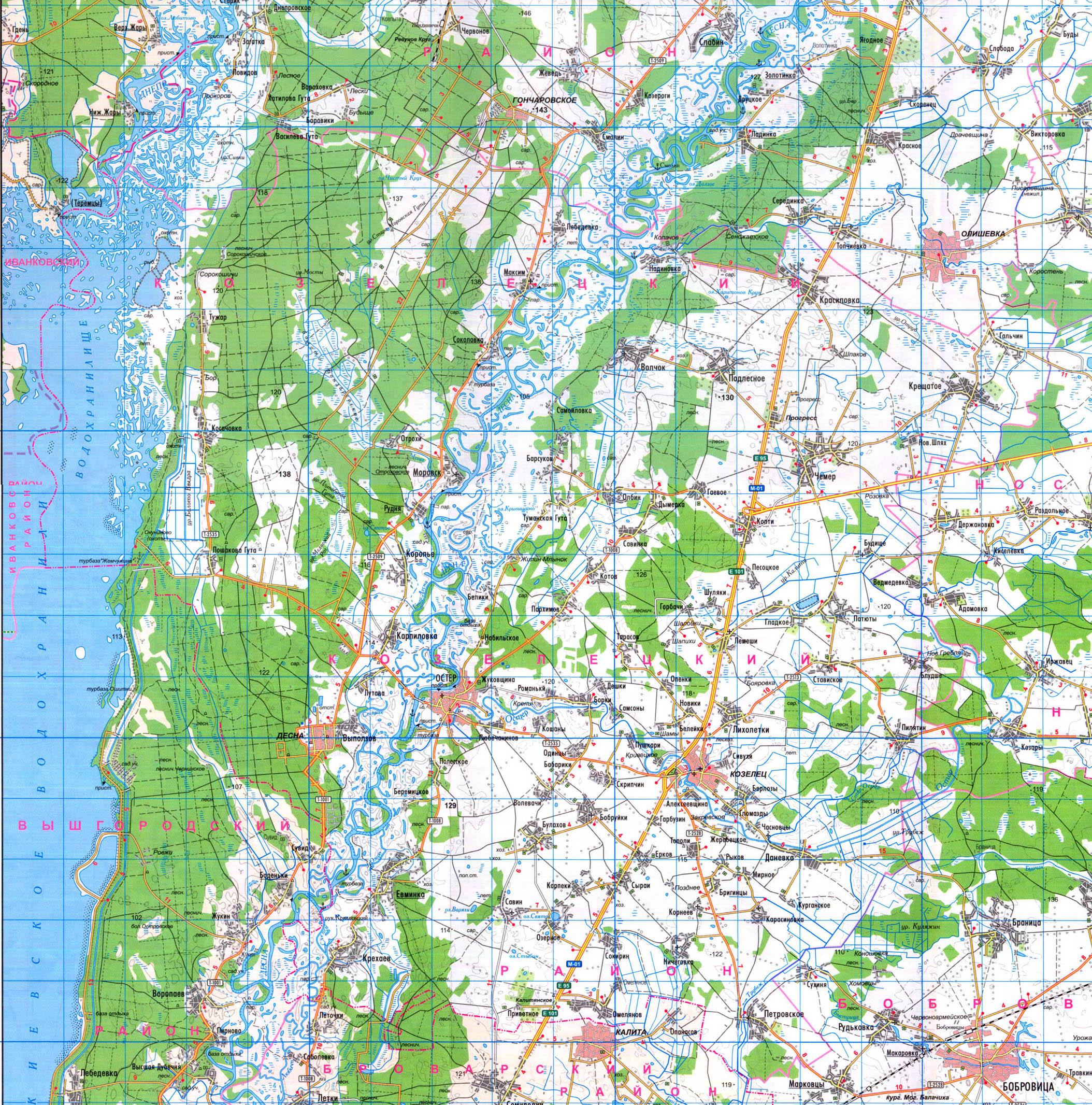 Подробная карта Козелецкого района
