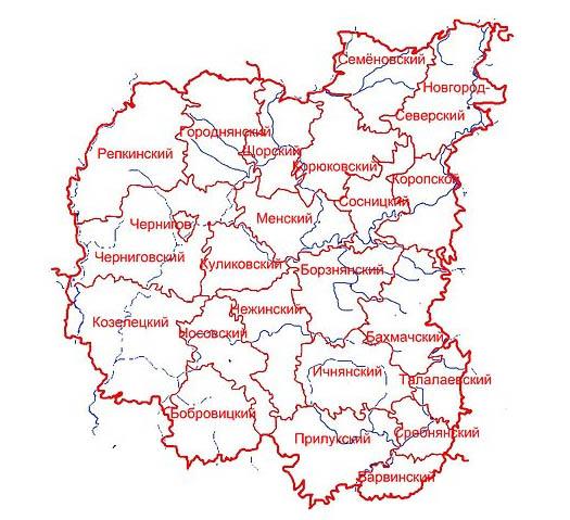 карта районов Черниговской области