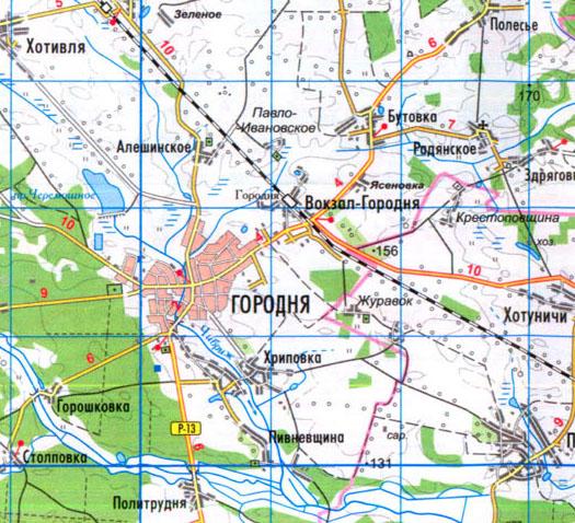 карта Городни в Черниговской области