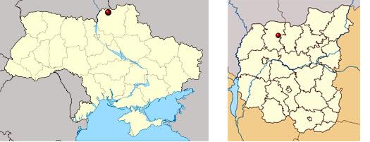 Городня на карте Украины