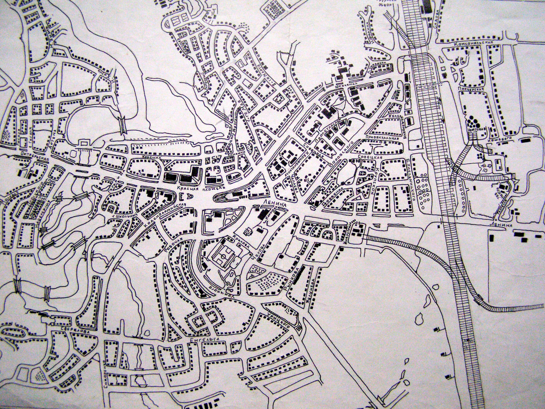 Подробная карта Мены с улицами