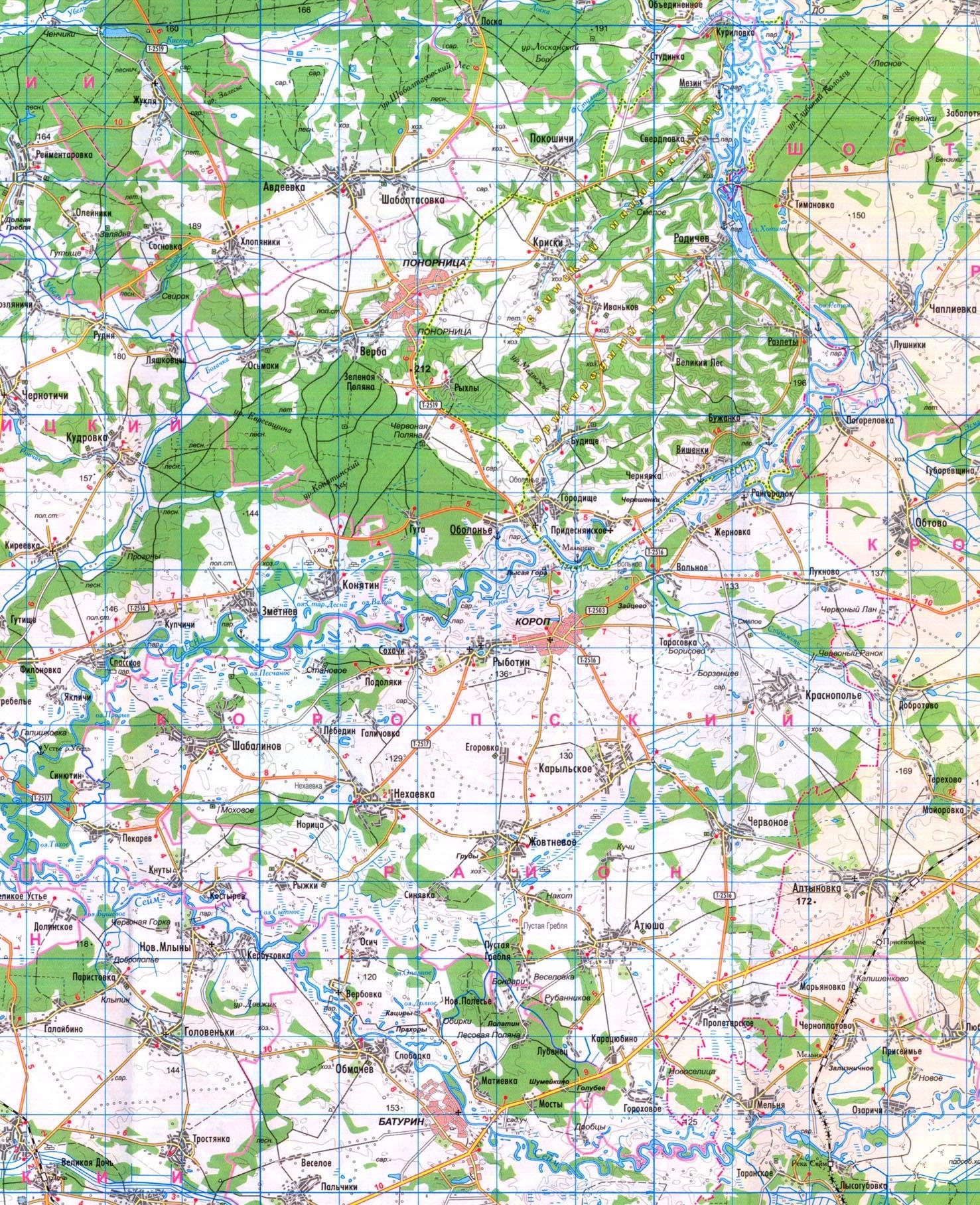 Подробная карта Коропского района