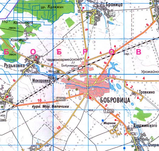 карта местности г. Бобровица