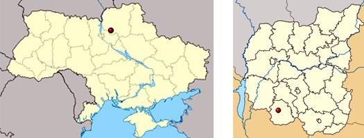 Бобровица на карте Украины