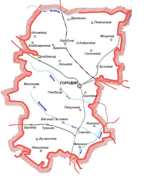 Карта Городнянский район