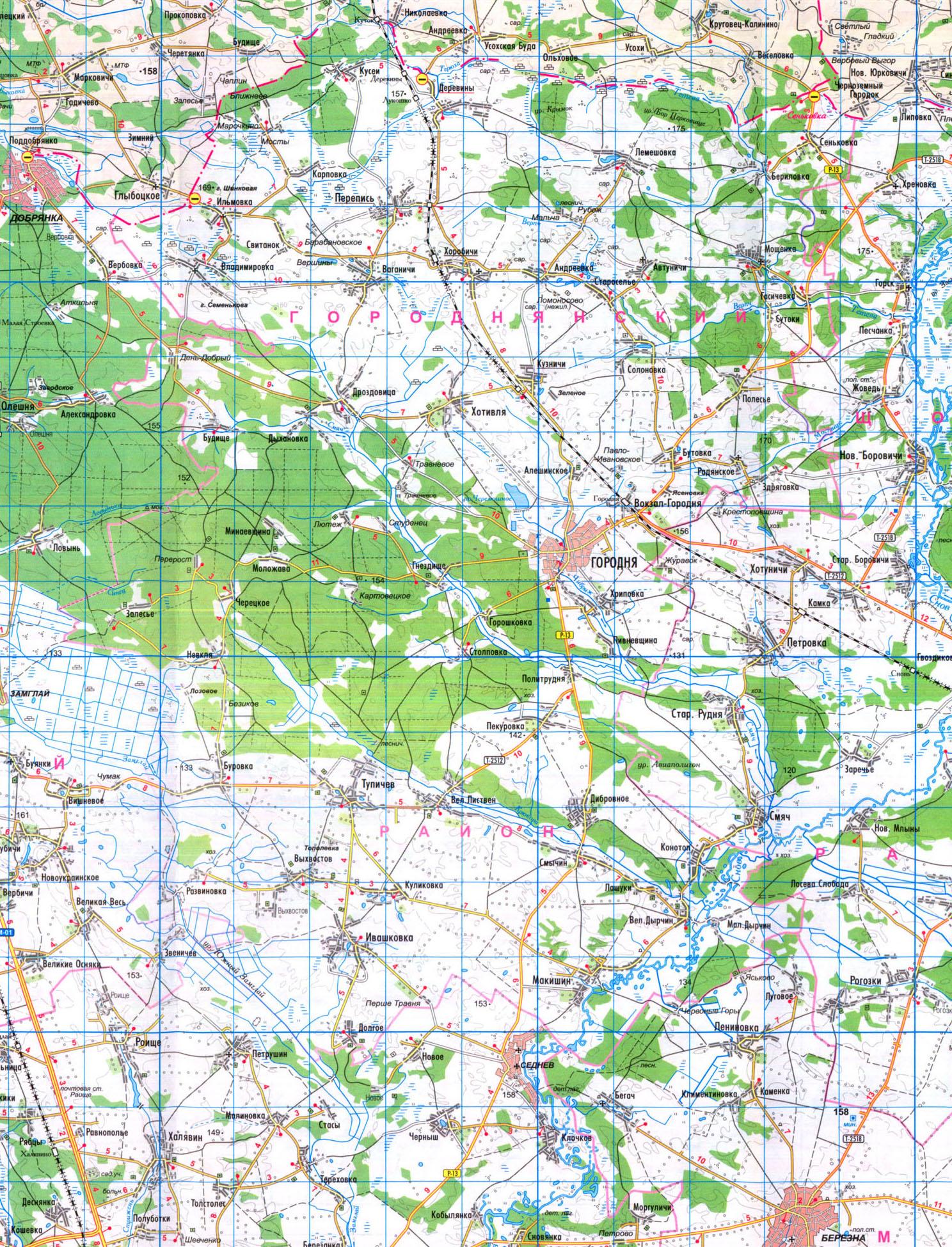 Подробная карта Городнянского района