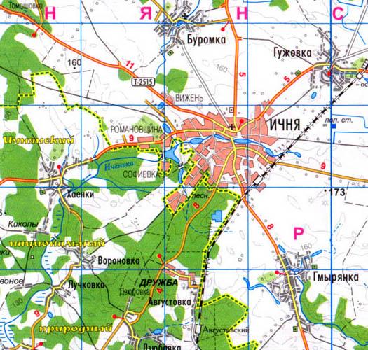 карта план города Ични