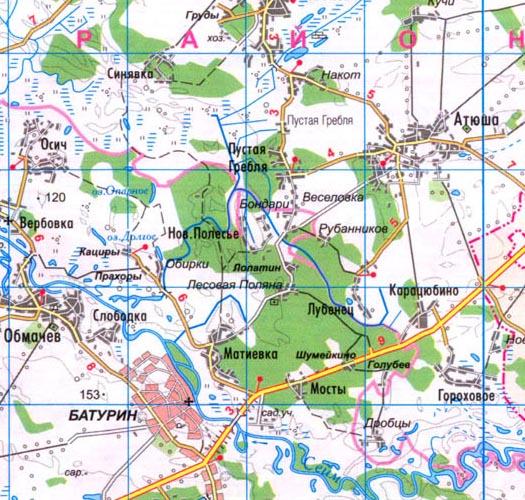 карта села Пустая Гребля