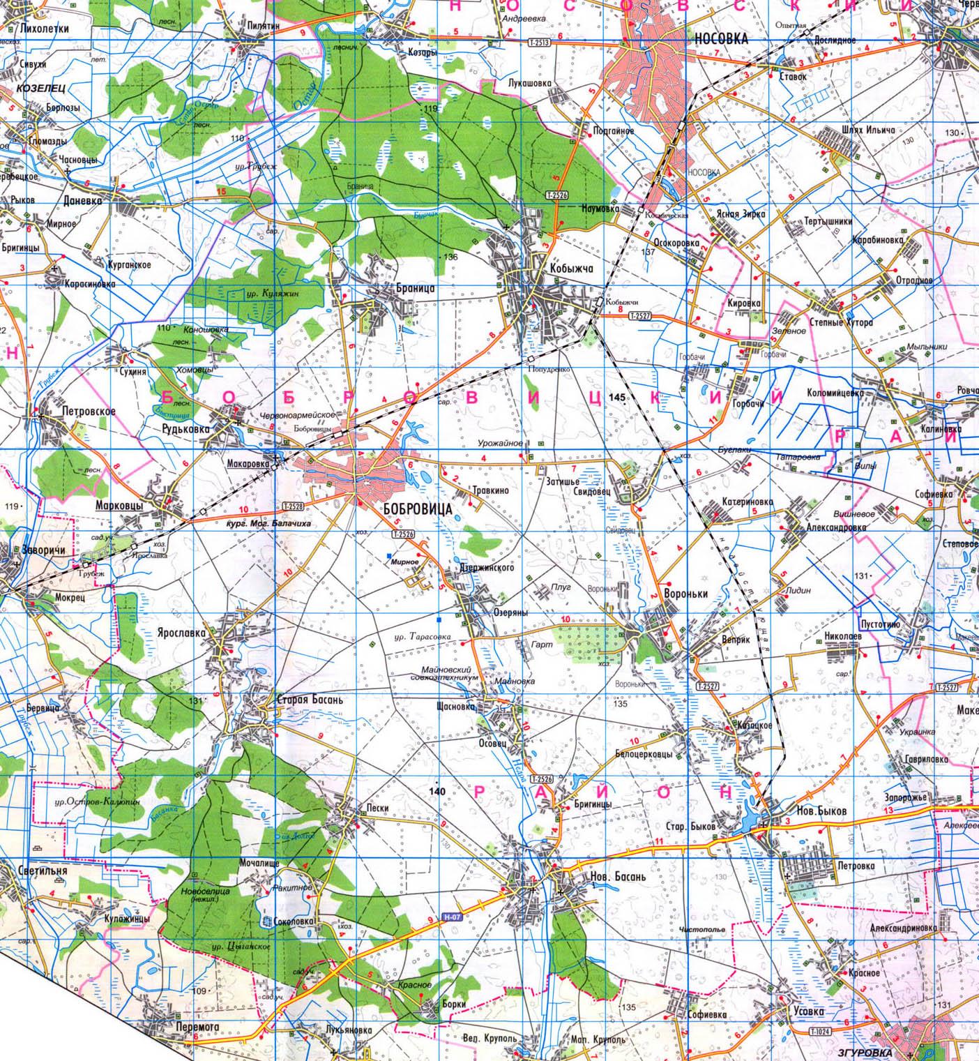 карта Бобровицкого района