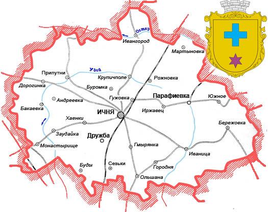 Ичнянский район - карта сел
