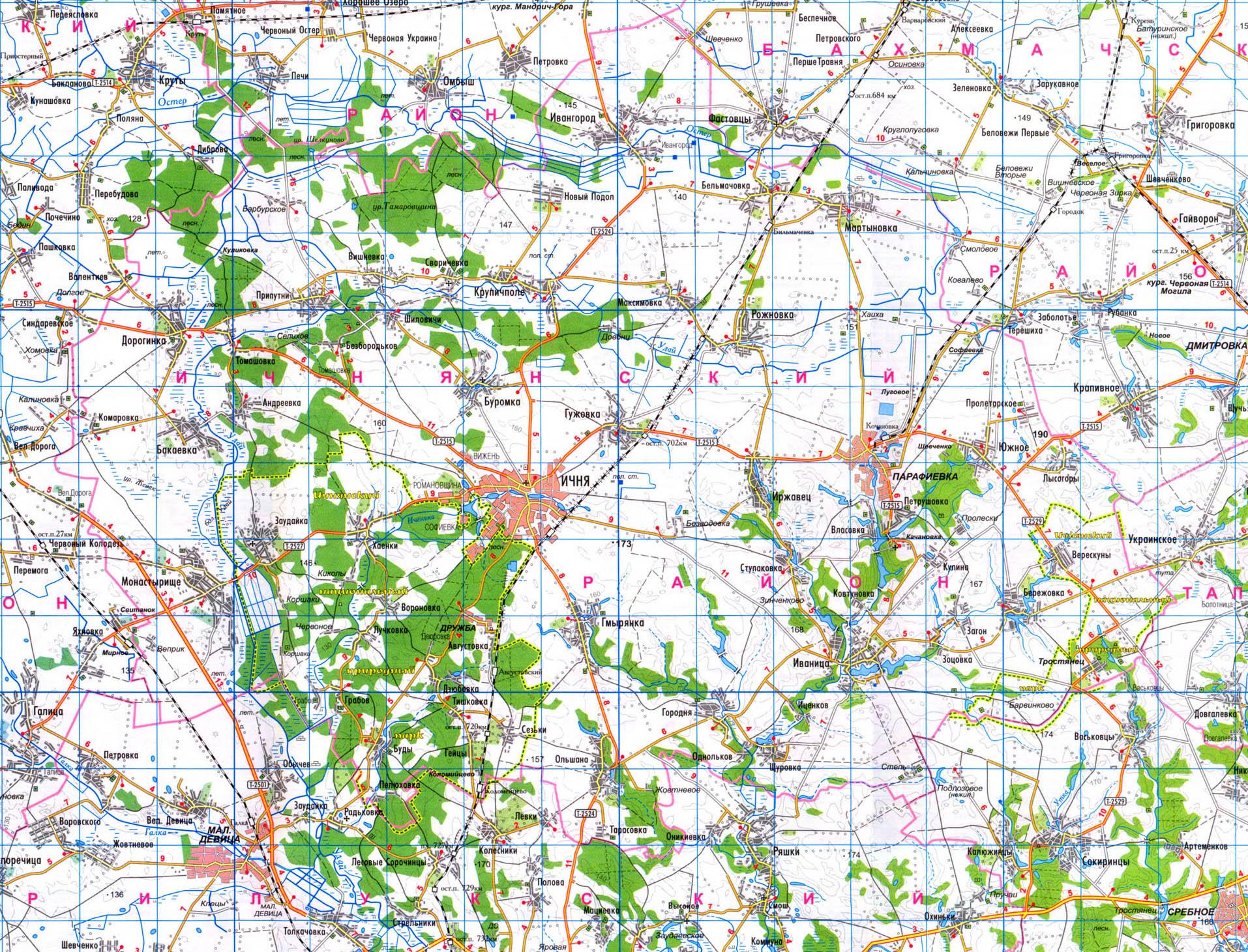 Подробная карта Ичнянского района