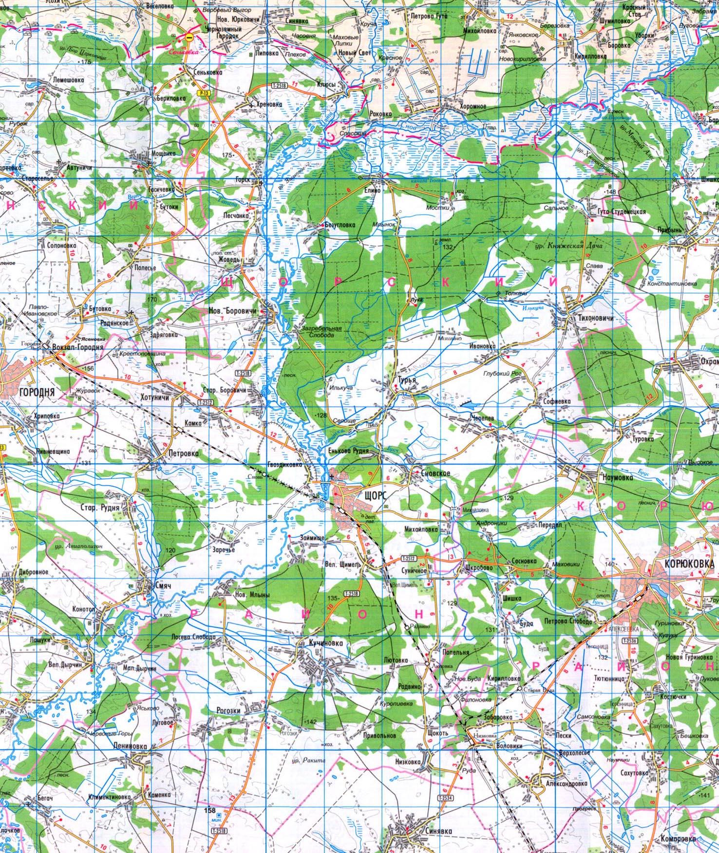 Подробная карта Щорского района