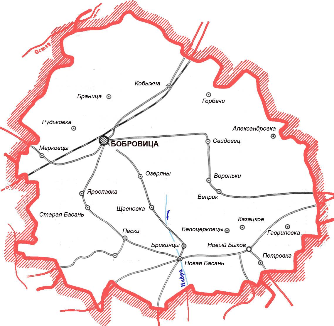 карта схема Бобровицкого района