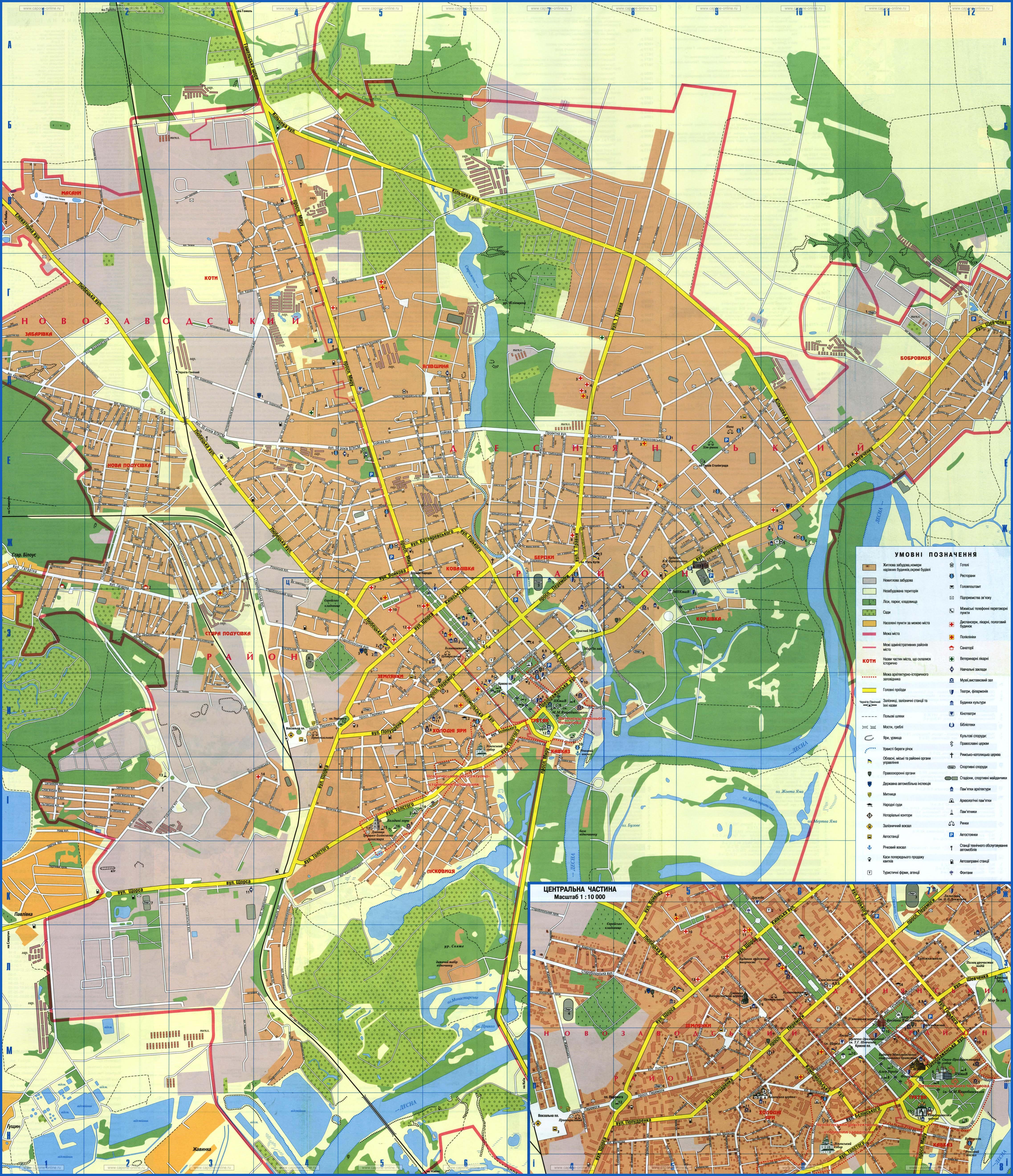 Карта Чернигова С Достопримечательностями