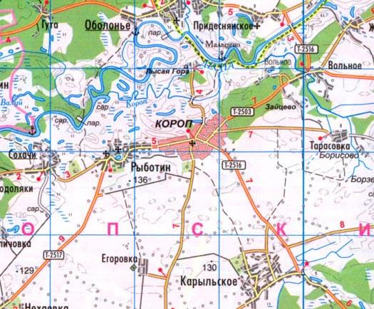 карта Коропа в Черниговской области