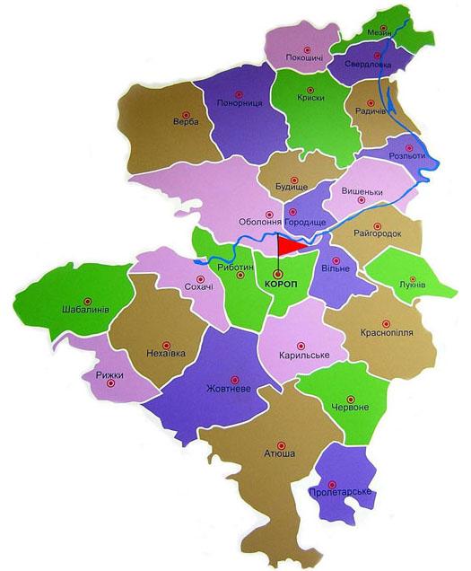 Карта сельсоветов Коропского района