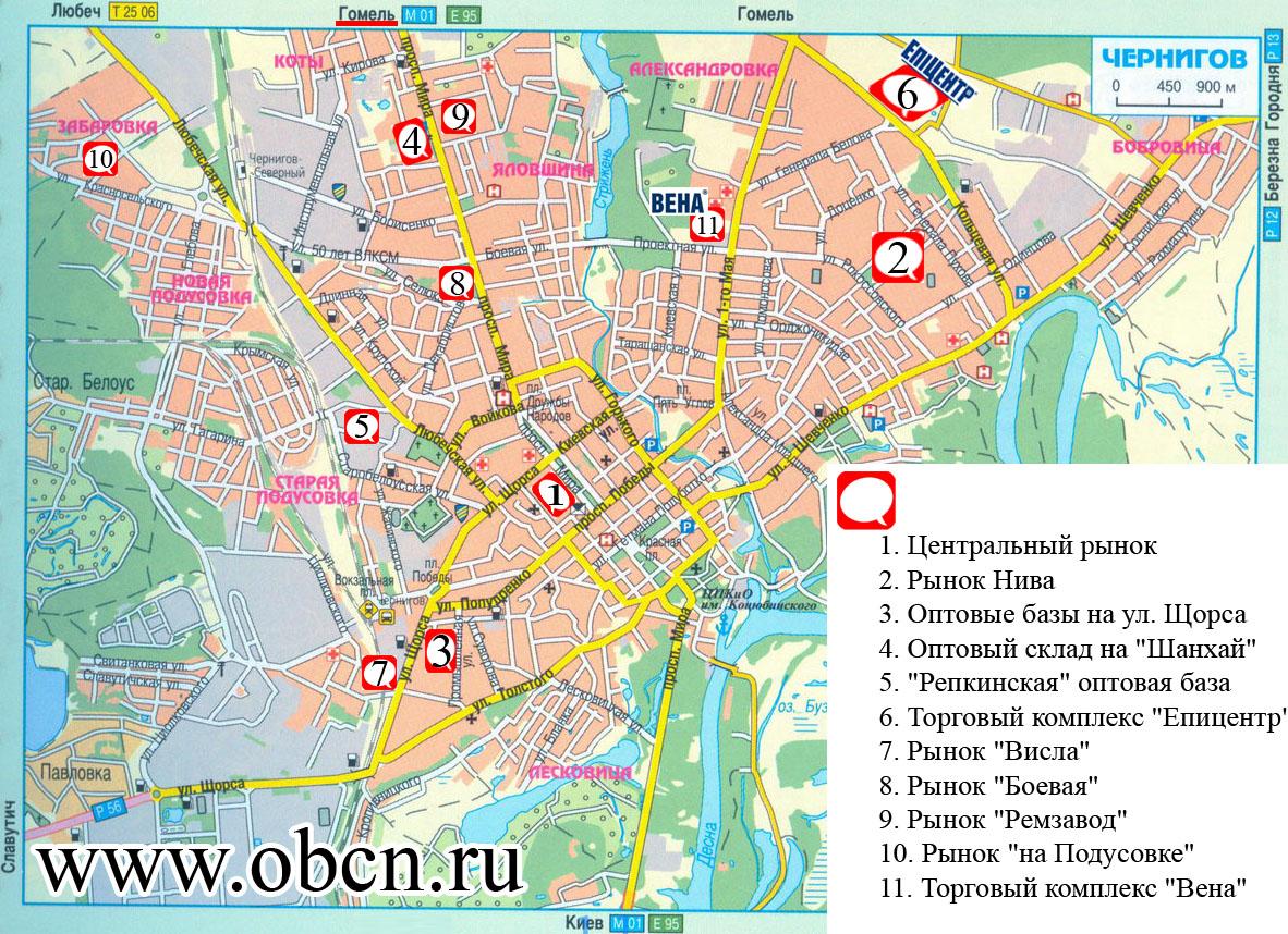 Карта Чернигова Подусовка