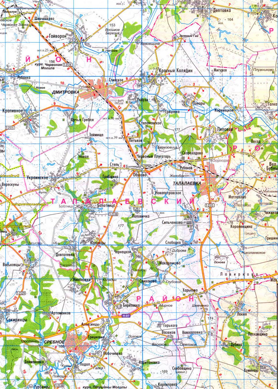 Подробная карта Талалаевского района