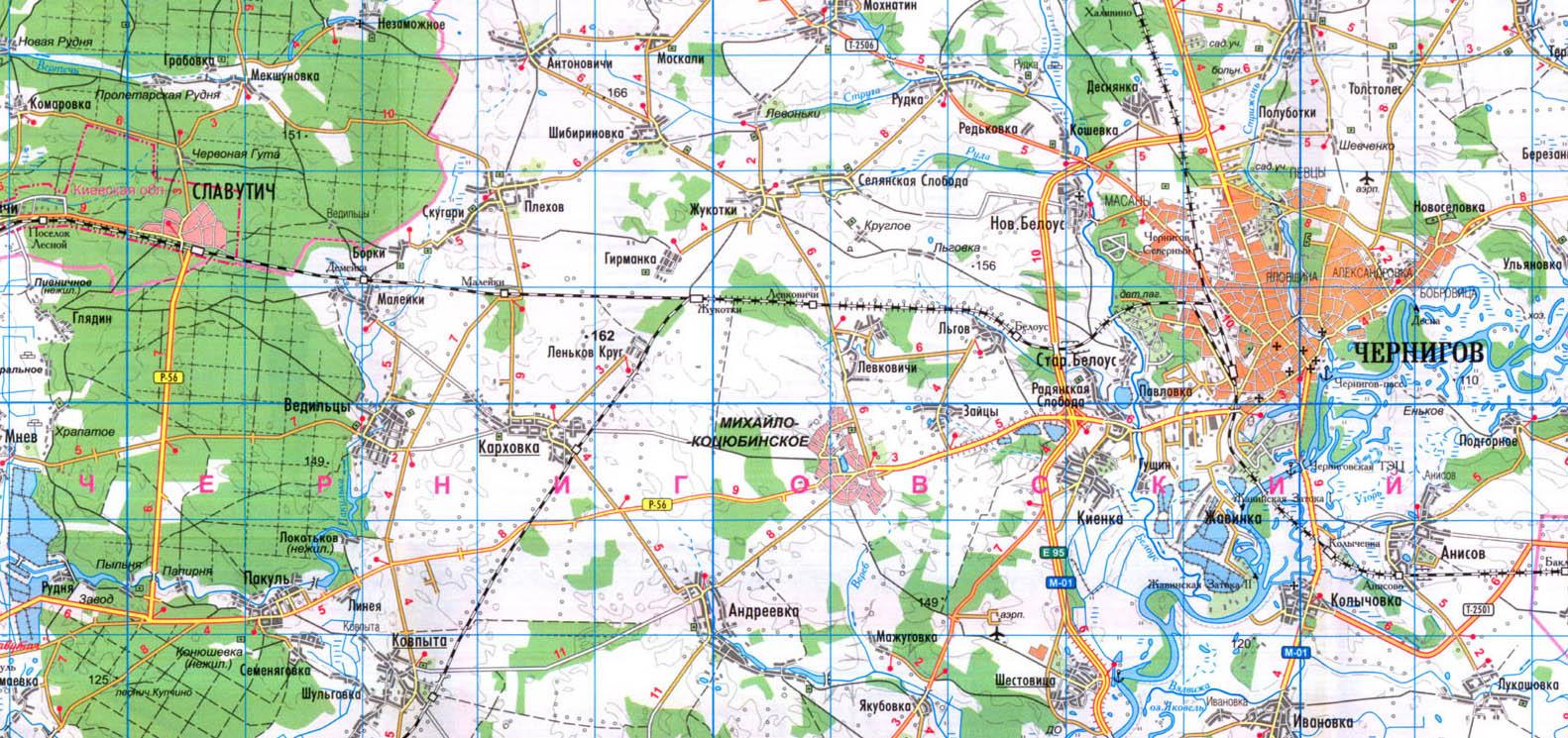 Карта дороги Чернигов-Славутич: