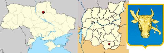 Прилуки на карте Украины