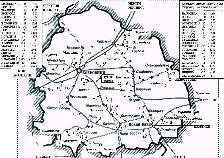карта схема сел Бобровицкого района