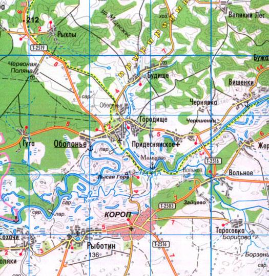 Карта села Городище в Коропском районе