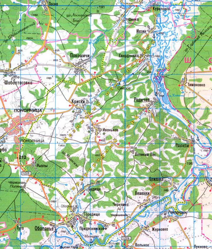 карта - Мезинский национальный природный парк