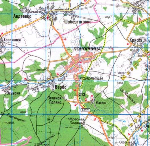 карта пгт Понорница в Черниговской области