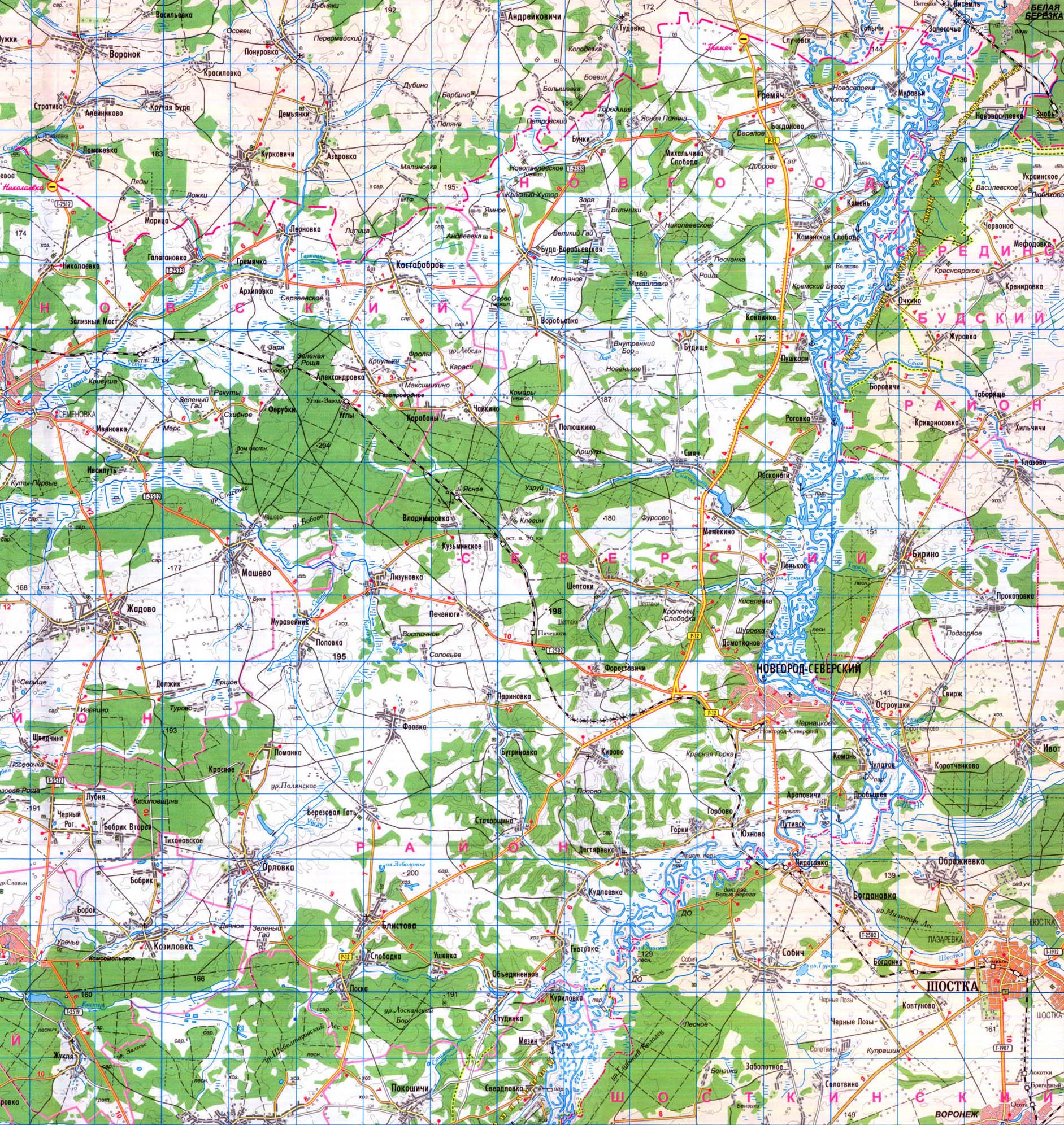 подробная карта Новгород-Северского района