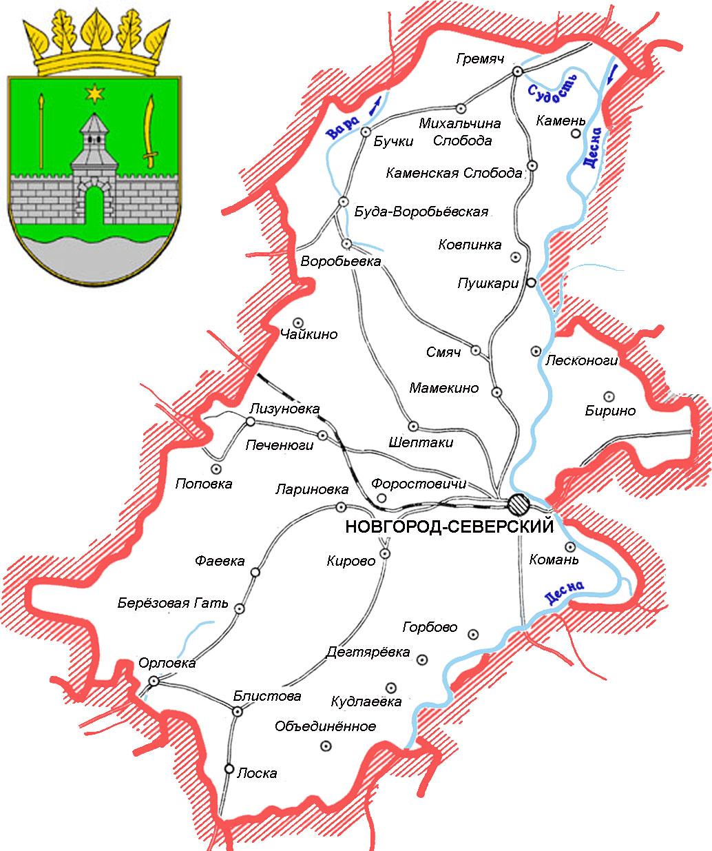 Карта схема Новгород-Северского района