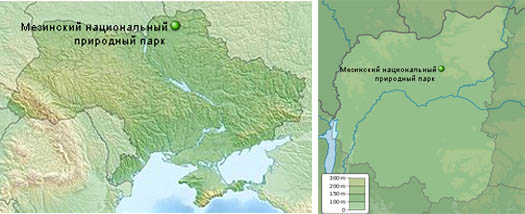 Мезинский парк на карте Украины