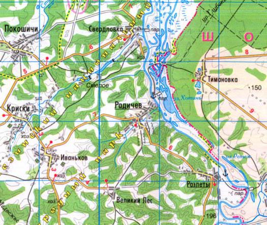 село Радичев на карте Коропского района