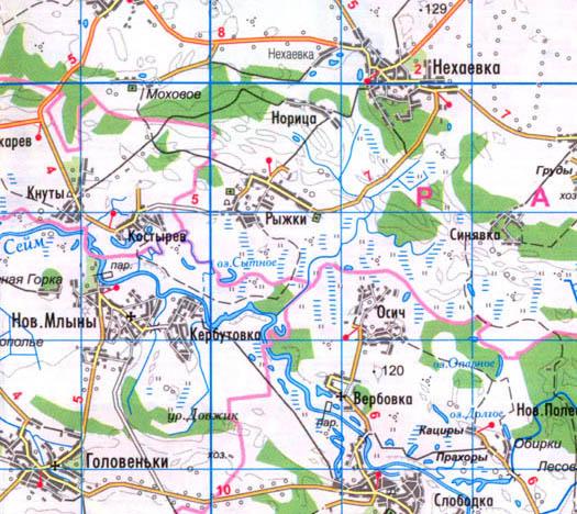 карта села Рыжки