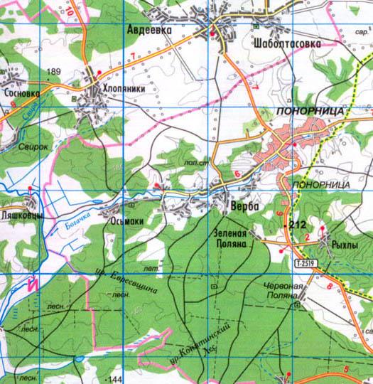 карта сел Верба и Осьмаки в Коропском районе