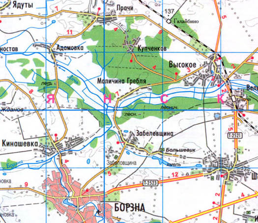 карта села Маличина Гребля