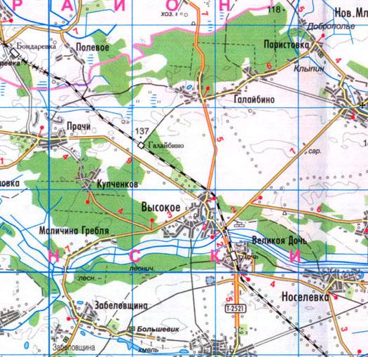 карта село Высокое, Борзнянский район