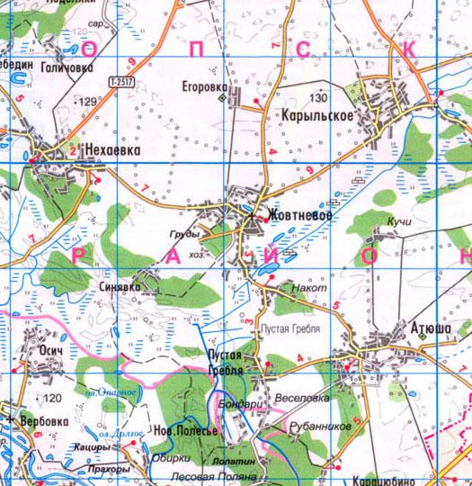 карта села Жовтневое, Коропский район