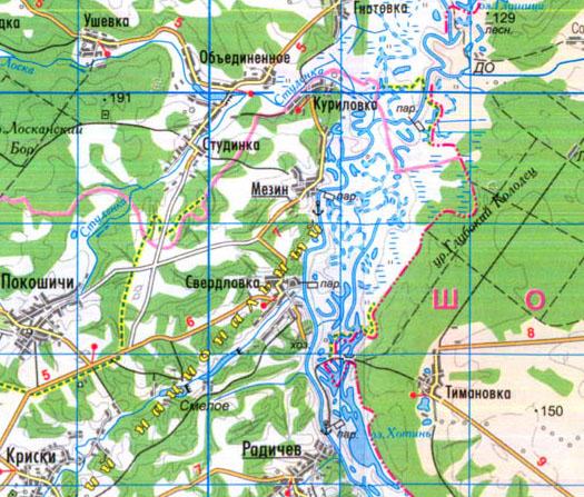 село Мезин, карта