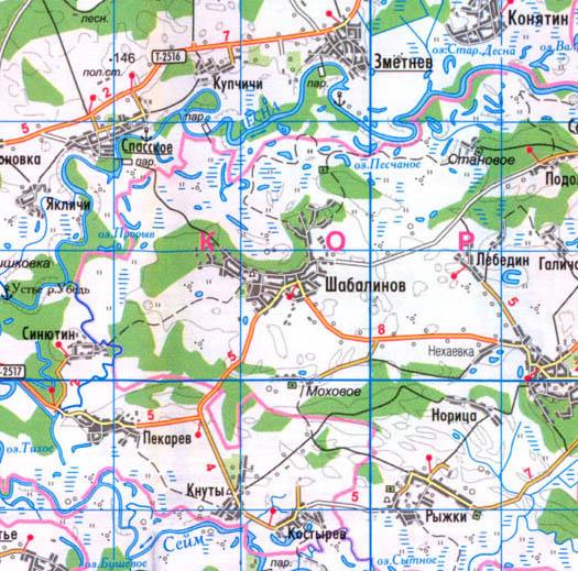 карта села Шабалинов, Коропский район